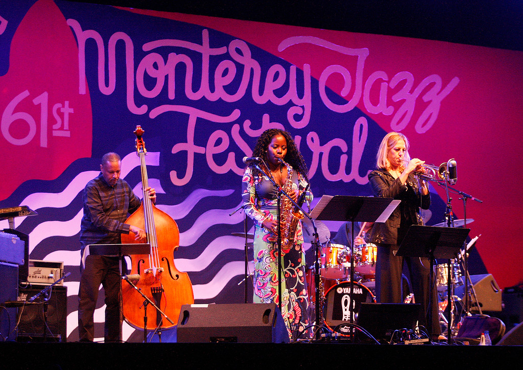 . Tia Fuller and Ingrid Jensen present a tribute to Geri Allen on the Jimmy Lyons statge at the Monterey Jazz Festival on Friday, September 21, 2018.  (Vern Fisher - Monterey Herald)