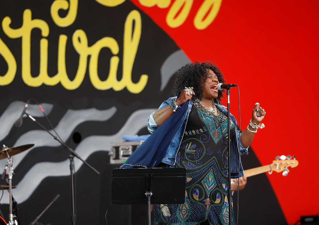 . Thornetta Davis performs on the Jimmy Lyons stage in the main arena at the Monterey Jazz Festival on Saturday, September 22, 2018.  (Vern Fisher - Monterey Herald)