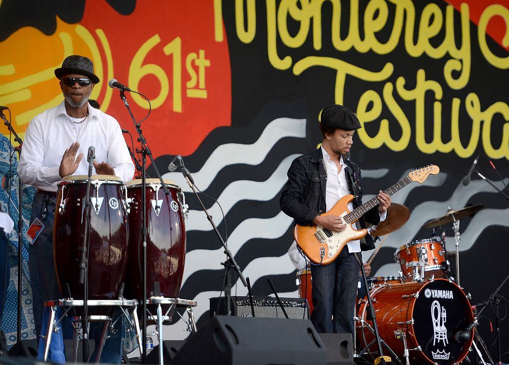 . David Marcaccio and Carlton Washington with the Thornetta Davis group on the Jimmy Lyons stage in the main arena at the Monterey Jazz Festival on Saturday, September 22, 2018.  (Vern Fisher - Monterey Herald)