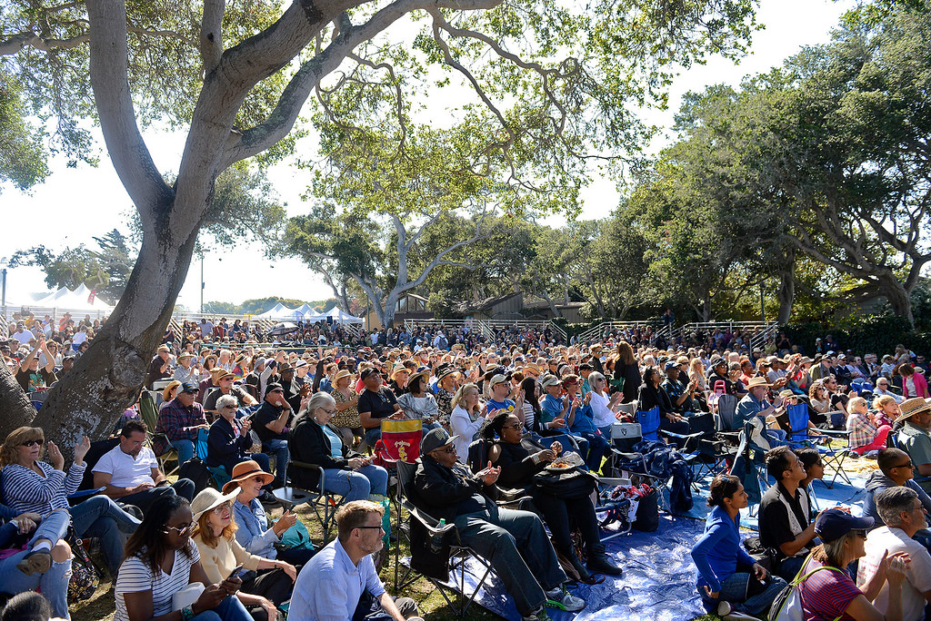 . A capacity crowd listens to the No BS! Brass Band on the Garden Stage at the Monterey Jazz Festival on Saturday, September 22, 2018.  (Vern Fisher - Monterey Herald)