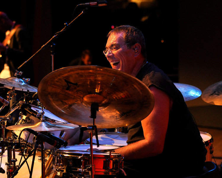 MONTEREY, CA-SEPTEMBER 17:Vinnie Colaiuta performs with Herbie Hancock at the Monterey Jazz Festival in Monterey, CA on September 17, 2011. (Photo by Clayton Call/Redferns)
