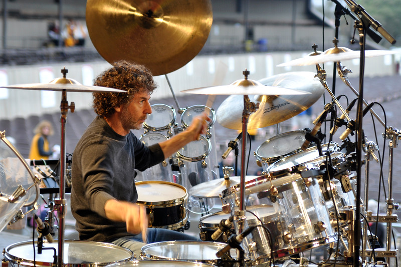 MONTEREY, CA-SEPTEMBER 16: Simon Phillips performs a sound check with Hiromi at the Monterey Jazz Festival in Monterey, CA on September 16, 2011. (Photo by Clayton Call/Redferns)