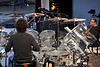 MONTEREY, CA-SEPTEMBER 16: Hiromi performs a sound check with the Trio Project at the Monterey Jazz Festival in Monterey, CA on September 16, 2011. (L-R): Simon Phillips, Hiromi, Anthony Jackson. (Photo by Clayton Call/Redferns)
