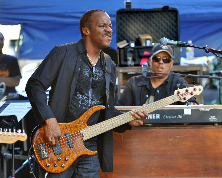 MONTEREY, CA-SEPTEMBER 17: Ivan Neville's Dumpstaphunk performs at the Monterey Jazz Festival in Monterey, CA on September 17, 2011. (L-R): Tony Hall, Ivan Neville (Photo by Clayton Call/Redferns)