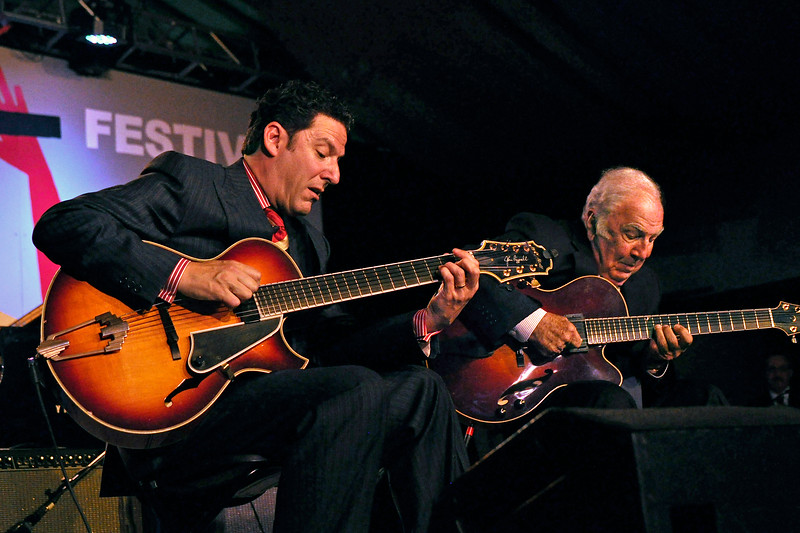 MONTEREY, CA-SEPTEMBER 17: John and Bucky Pizzarelli perform at the Monterey Jazz Festival in Monterey, CA on September 17, 2011. (L-R): John Pizzarelli, Bucky Pizzarelli.  (Photo by Clayton Call/Redferns)
