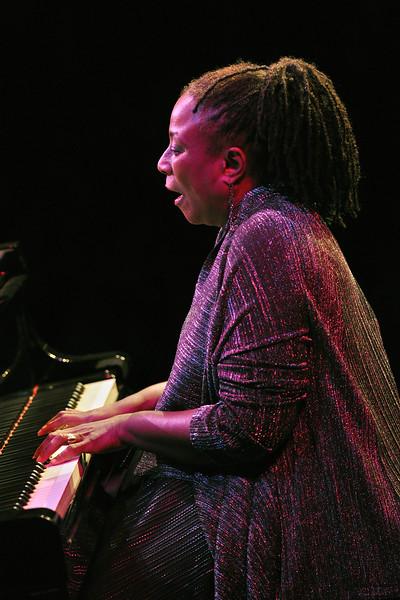 MONTEREY, CA-SEPTEMBER 17: Geri Allen performs at the Monterey Jazz Festival in Monterey, CA on September 17, 2011. (Photo by Clayton Call/Redferns)