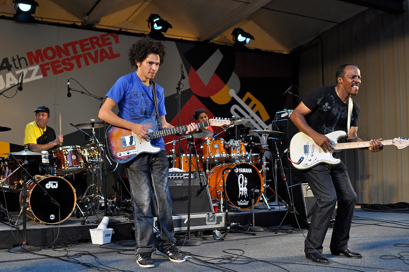 MONTEREY, CA-SEPTEMBER 17: Dumpstaphunk performs with special guest Greg Errico (Sly Stone) at the Monterey Jazz Festival in Monterey, CA on September 17, 2011. (L-R): Greg Errico, Ian Neville, Nikki Glaspie, Tony Hall. (Photo by Clayton Call/Redferns)
