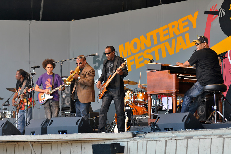 MONTEREY, CA-SEPTEMBER 17: Terence Blanchard sits in with Dumpstaphunk at the Monterey Jazz Festival in Monterey, CA on September 17, 2011. (L-R): Nick Daniels, Ian Neville, Terence Blanchard, Tony Hall, Ivan Neville. (Photo by Clayton Call/Redferns)