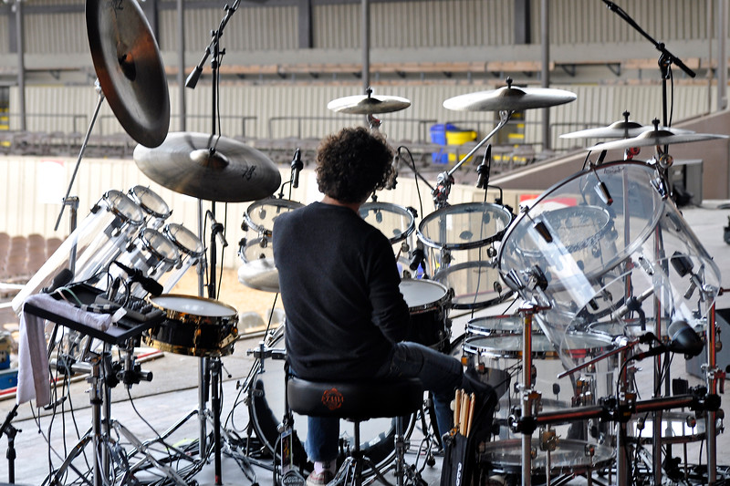 MONTEREY, CA-SEPTEMBER 16: Simon Phillips prepares for soundcheck with Hiromi at the Monterey Jazz Festival in Monterey, CA on September 16, 2011. (Photo by Clayton Call/Redferns)