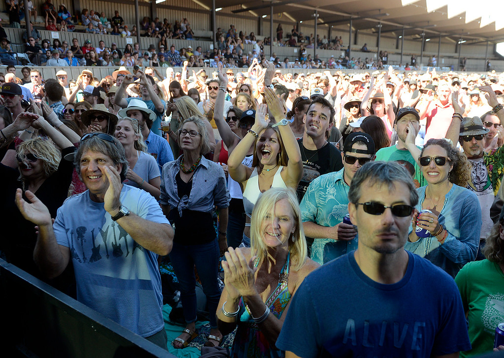 . Fans watch Cisco Adler, Donovan Frankenreiter and G. Love jam with Jamtown as the Monterey International Pop Festival Celebrates 50 Years at the Monterey County Fairgrounds and Event Center in Monterey on Saturday June 18, 2017. (David Royal - Monterey Herald)