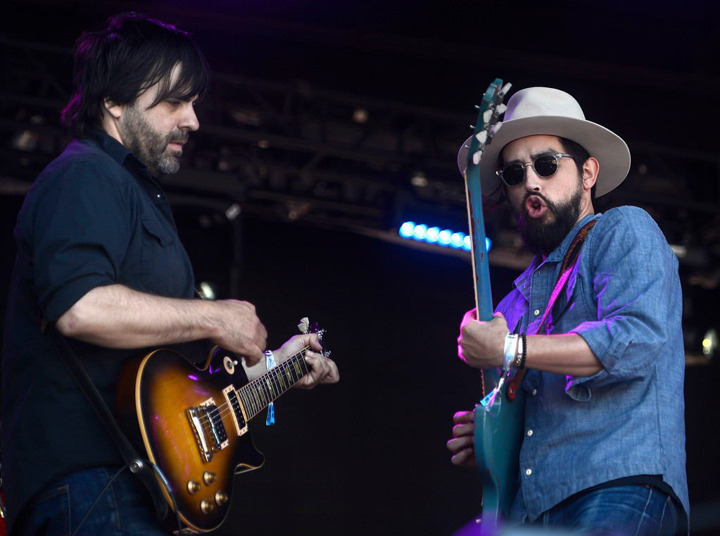 . Nathan Dale, left, plays with Jackie Greene and his band as the Monterey International Pop Festival Celebrates 50 Years at the Monterey County Fairgrounds and Event Center in Monterey on Saturday June 18, 2017. (David Royal - Monterey Herald)