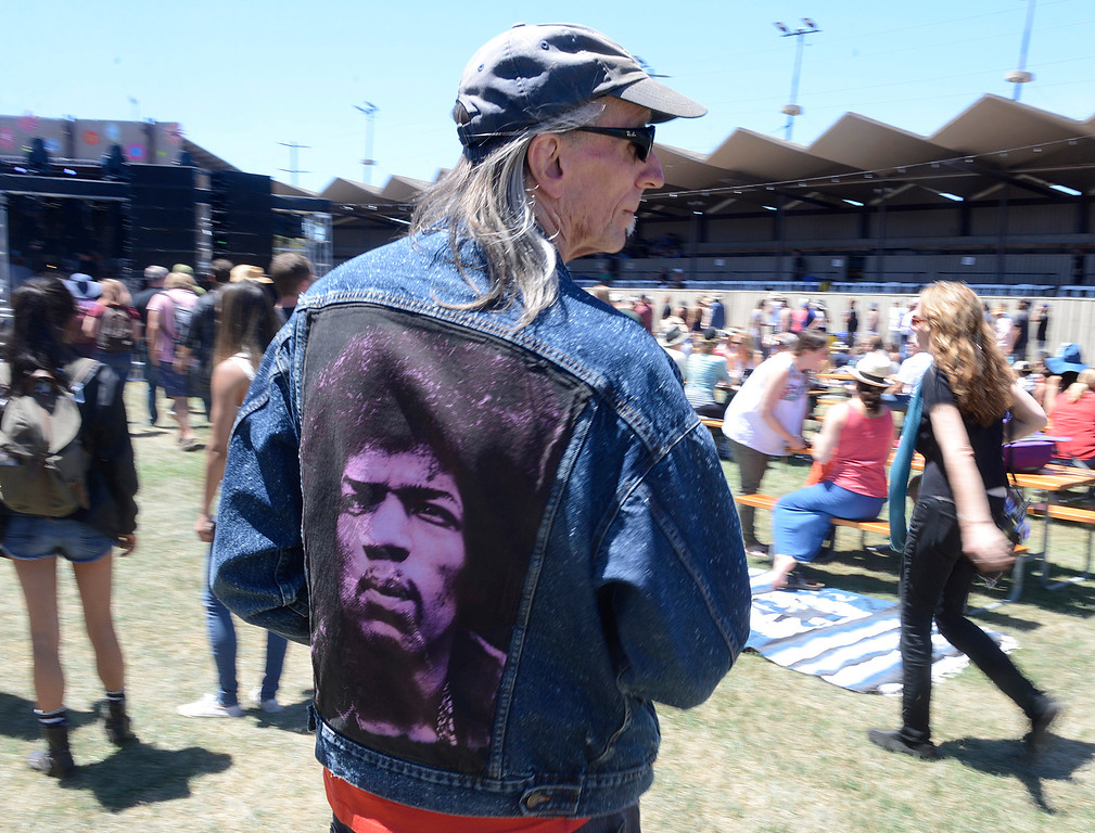 . A man wears a jean jacket with a pias the Monterey International Pop Festival Celebrates 50 Years at the Monterey County Fairgrounds and Event Center in Monterey on Saturday June 18, 2017. (David Royal - Monterey Herald)