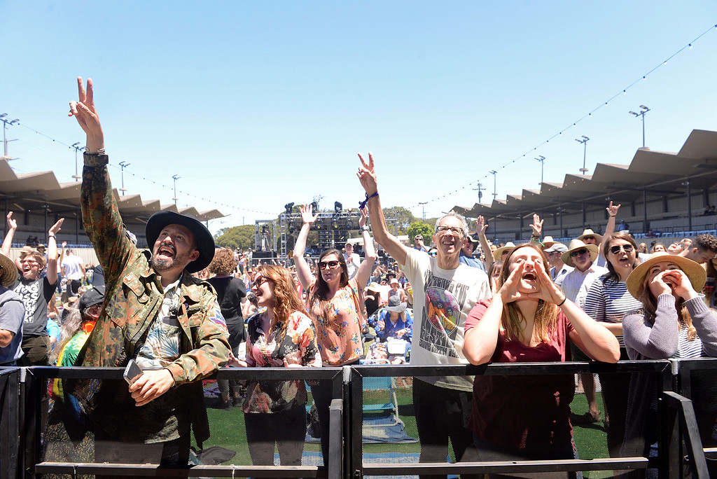 . Fans react as Langhorne Slim & The Law play as the Monterey International Pop Festival Celebrates 50 Years at the Monterey County Fairgrounds and Event Center in Monterey on Friday June 16, 2017. (David Royal - Monterey Herald)