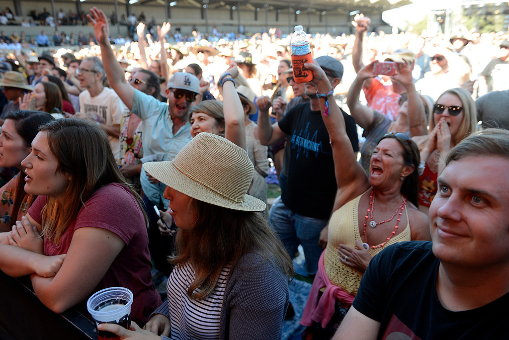 . Fans watch Nethaniel Rateliff & the Night Sweats perform as the Monterey International Pop Festival Celebrates 50 Years at the Monterey County Fairgrounds and Event Center in Monterey on Friday June 16, 2017. (David Royal - Monterey Herald)
