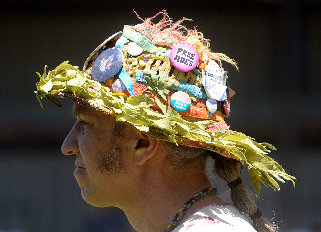 . Dan Laughlin wears a had covered with buttons as the Monterey International Pop Festival Celebrates 50 Years at the Monterey County Fairgrounds and Event Center in Monterey on Friday June 16, 2017. (David Royal - Monterey Herald)