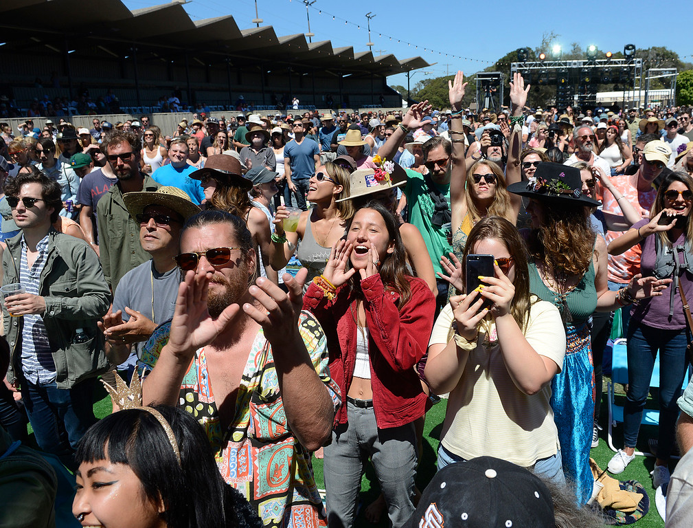 . Fans react as Charles Bradley & His Extraordinaires perform as the Monterey International Pop Festival Celebrates 50 Years at the Monterey County Fairgrounds and Event Center in Monterey on Friday June 16, 2017. (David Royal - Monterey Herald)