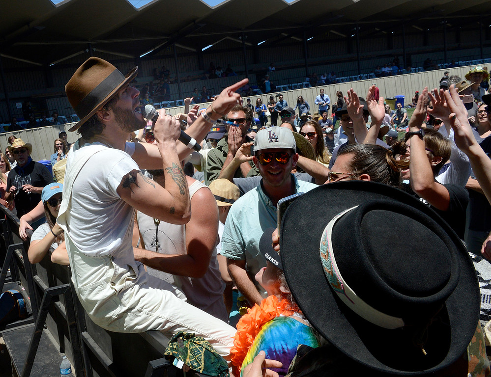 . Langhorne Slim & The Law lead singer Sean Scolnick sings his way through the crowd while playing as the Monterey International Pop Festival Celebrates 50 Years at the Monterey County Fairgrounds and Event Center in Monterey on Friday June 16, 2017. (David Royal - Monterey Herald)