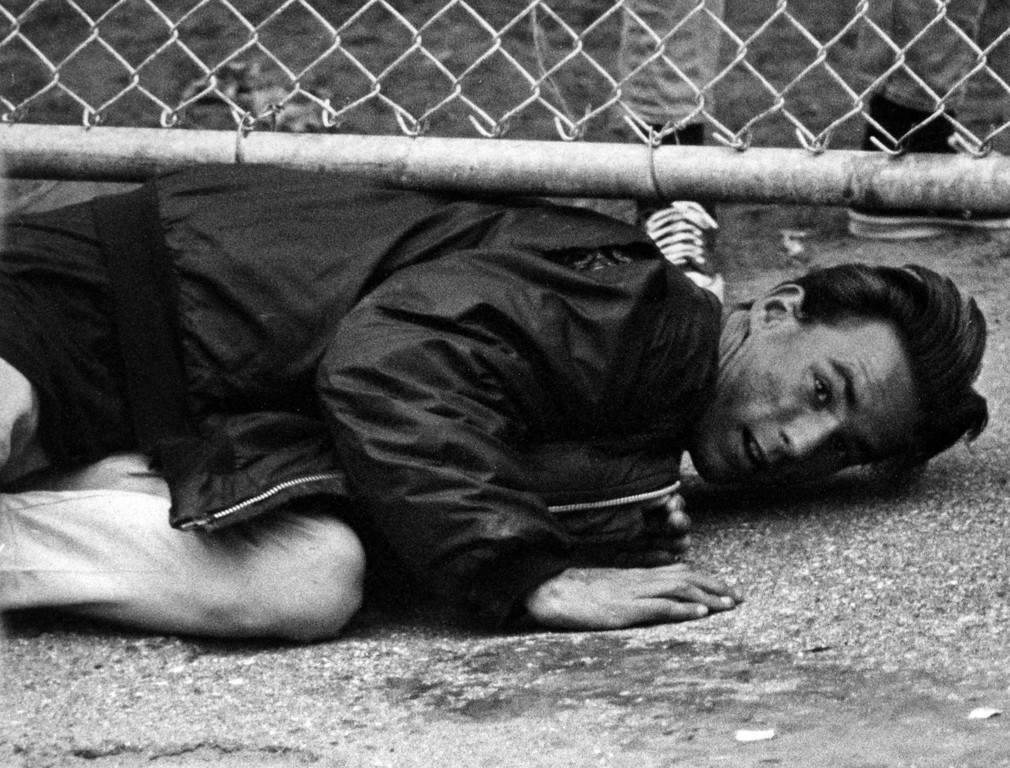 . A fan tries to sneak under a fence at the Monterey Fairgrounds on Sunday, June 18, 1967 during the Monterey International Pop Festival.  (Monterey Herald)