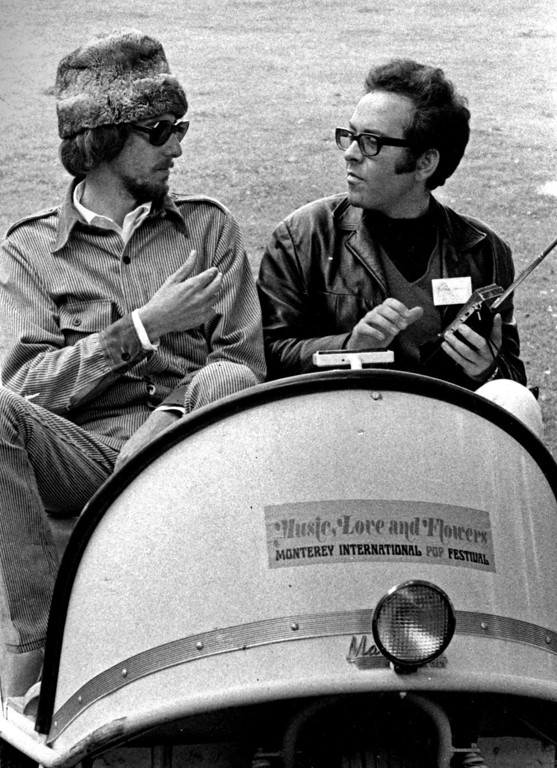 . Co-producer John Phillips (left) with Alan Pariser at the Monterey Fairgrounds on Friday, June 16, 1967 during the Monterey International Pop Festival.  (Monterey Herald)
