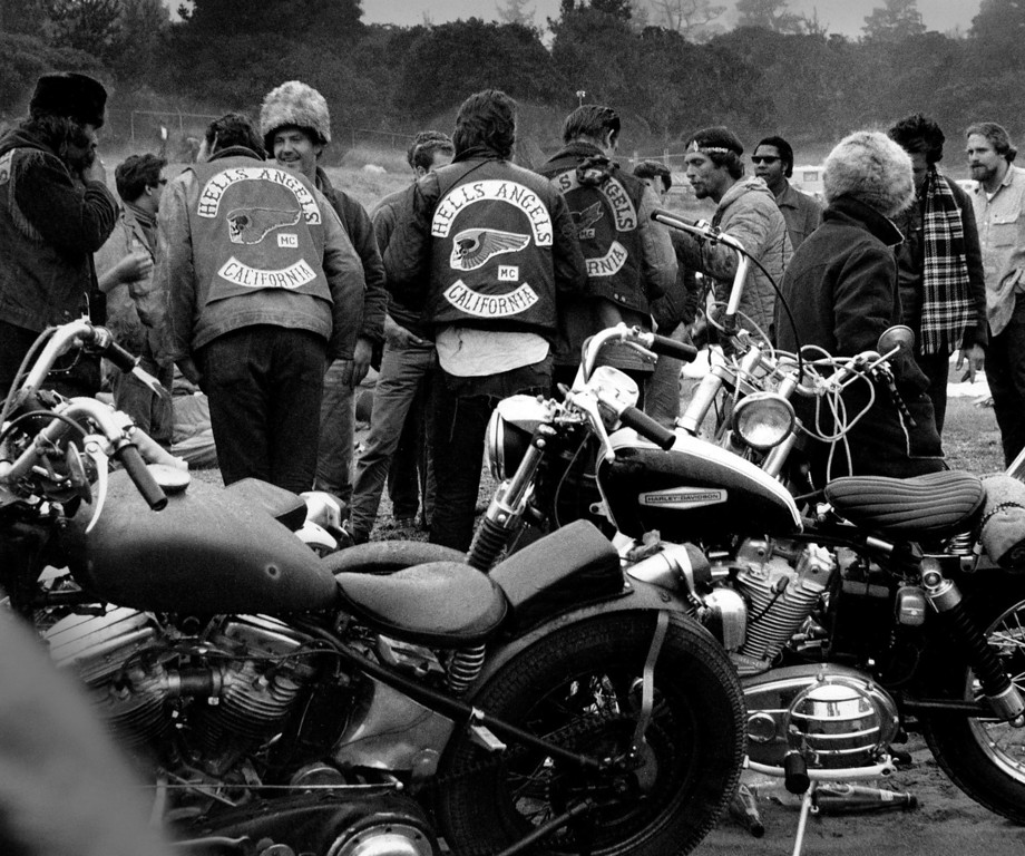 . Members of the Hells Angels motorcycle club camp on the football field at Monterey Peninsula College on Saturday, June 17, 1967 to attend the Monterey International Pop Festival.   More than 20,000 people camped at the college during the festival.  (Monterey Herald)