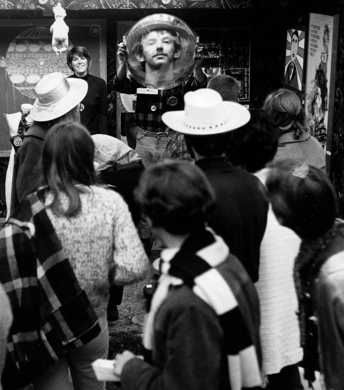 . Large crowds on Saturday, June 17, 1967 at the Monterey Fairgrounds during the Monterey International Pop Festival.  (Monterey Herald)