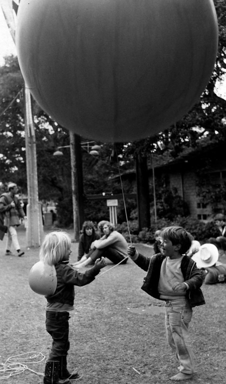 . Kids at play with a large balloon on Saturday, June 17, 1967 at the Monterey Fairgrounds during the Monterey International Pop Festival.  (Monterey Herald)