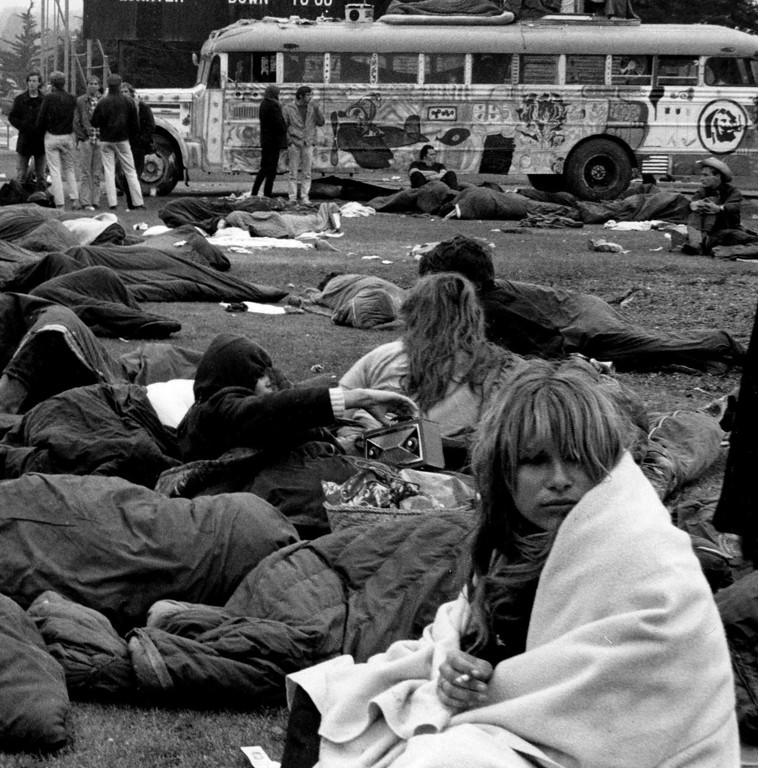 . The scene on Saturday, June 17, 1967 on the football field at Monterey Peninsula College where over 20,000 people camped during the Monterey International Pop Festival.  (Monterey Herald)