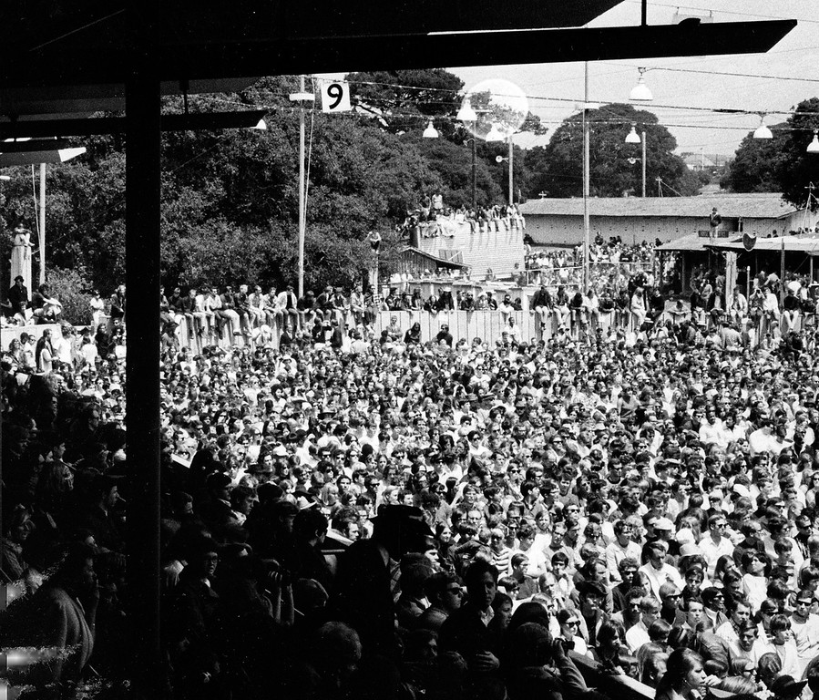 . A large crowd at the Monterey International Pop Festival at the Monterey Fairgrounds on Saturday, June 17, 1967.  (Monterey Herald)