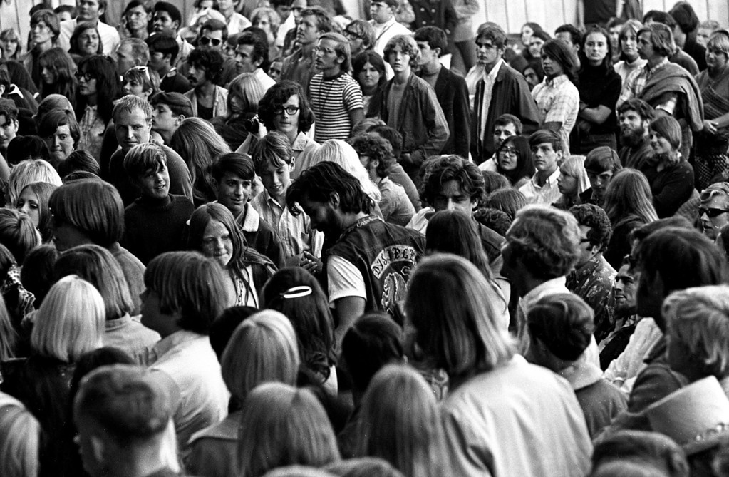 . The scene on Saturday, June 17, 1967 at the Monterey Fairgrounds during the Monterey International Pop Festival.  (Monterey Herald)