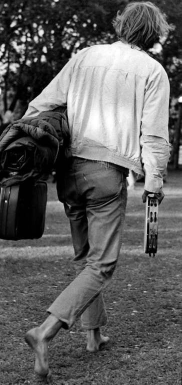 . Armed with a sleeping bag and tambourine, a Pop Festival visitor was ready to spend the weekend at the fairgrounds during the Monterey International Pop Festival on Friday, June 16, 1967.  (Monterey Herald)