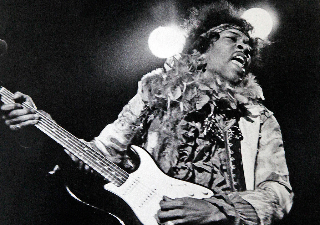 . Jimi Hendrix of the Jimi Hendrix Experience, performs at the Monterey International Pop Festival at the Monterey Fairgrounds on Sunday, June 18, 1967.  (Monterey Herald)