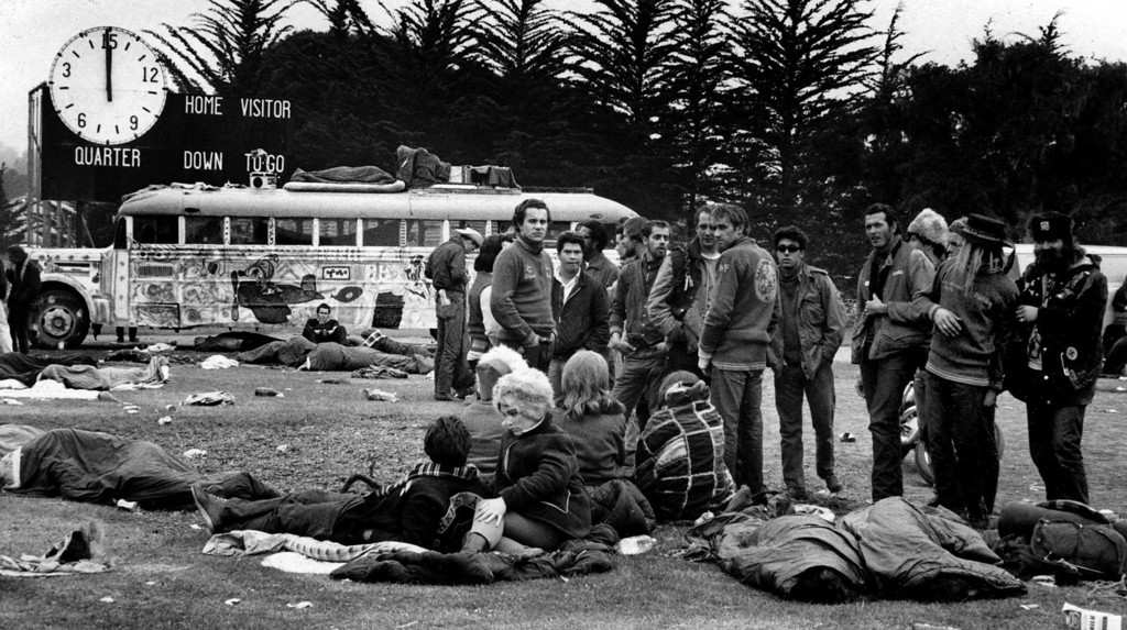 . The scene on Saturday, June 17, 1967 at the football field at Monterey Peninsula College, where over 20,000 people camped during the Monterey International Pop Festival.  (Monterey Herald)