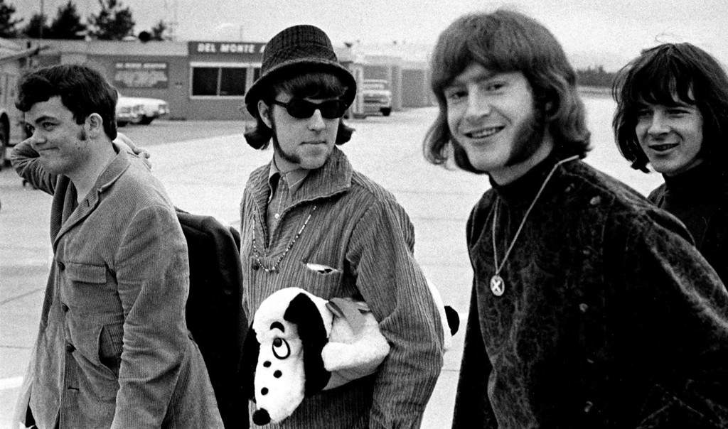 . The Paupers from Canada, Denny Gerrard, Chuck Beal, Skip Prokop and Adam Mitchell arrive at Monterey Airport on Thursday, June 15, 1967 to play at the Monterey International Pop Festival.  (Monterey Herald)