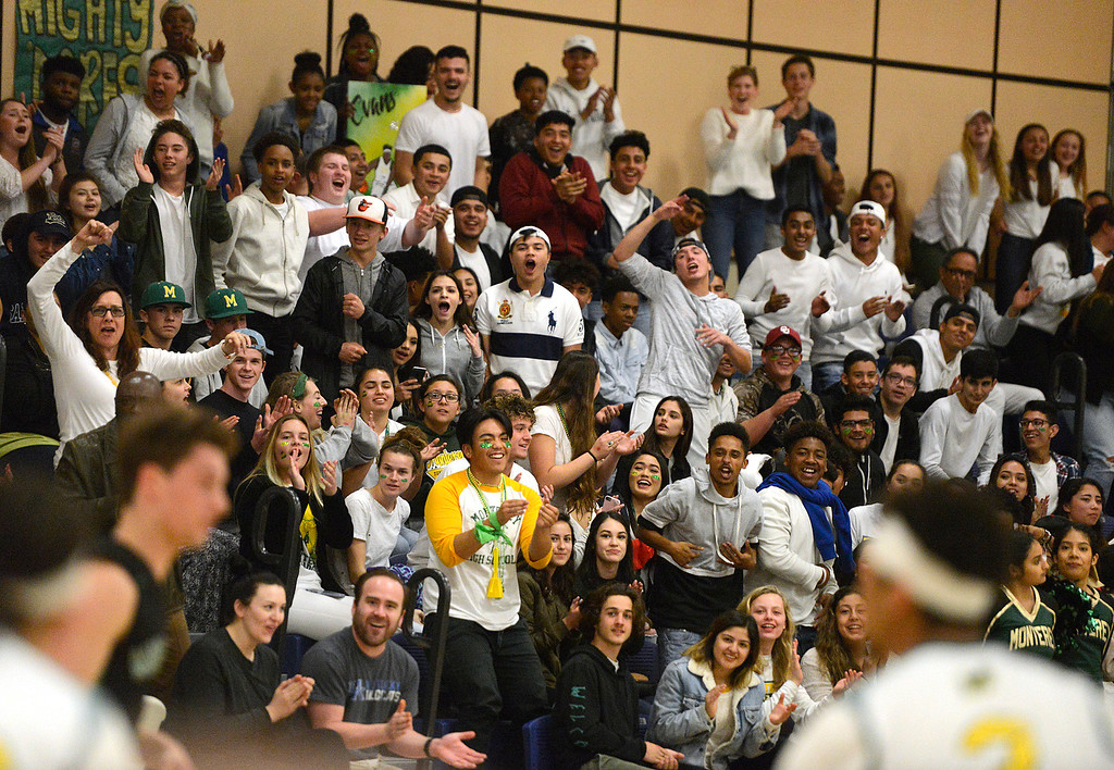 . Monterey fans go crazy after their team scored against Miramonte during the opening round of the State Nor Cal Division III boys basketball tournament at CSU Monterey Bay on Wednesday March 8, 2017. (David Royal - Monterey Herald)