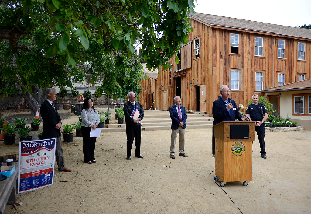 . Monterey mayor Clyde Roberson at a press conference at the Cooper-Molera Adobe in Monterey on Wednesday, June 27, 2018.  Monterey will be celebrating a public reopening of the Cooper-Molera Adobe on Wednesday, July 4, from 12pm-4pm. The public will get a sneak peek at the restoration which is transforming this historic site built in 1827 into a event space for the whole community.  (Vern Fisher - Monterey Herald)