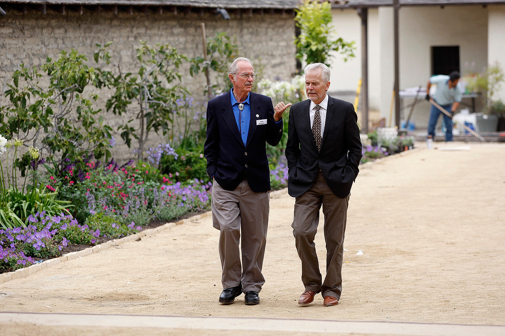 . Monterey mayor Clyde Roberson talks with Doug Wiele, president of Foothill Partners at the Cooper-Molera Adobe in Monterey on Wednesday, June 27, 2018.  Monterey will be celebrating a public reopening of the Cooper-Molera Adobe on Wednesday, July 4, from 12pm-4pm. The public will get a sneak peek at the restoration which is transforming this historic site built in 1827 into a event space for the whole community.  (Vern Fisher - Monterey Herald)