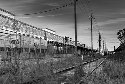 unused railroad track in an industrial park