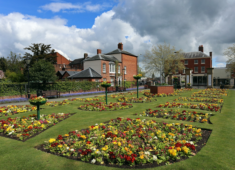 The memorial gardens at the entrance to Cae Glas Park, Oswestry.
