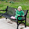 Bethan on a bench in Danson Park