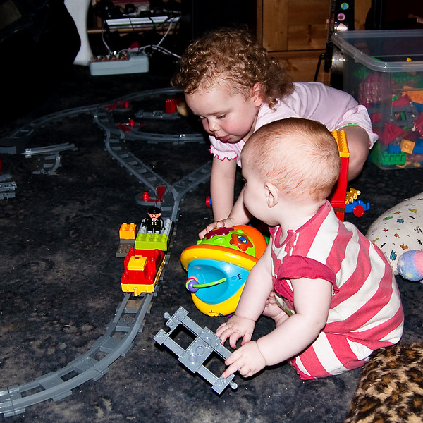 Playing with the Duplo trainset together