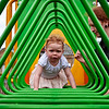 Bethan climbs through the painful and tricky Green Triangles of Doom