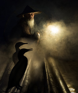 Jill Shaw - Fisherman with his two cormorants