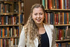 WVU Fulbright Scholars Morgan Stemler poses for a photo in the WV Collection Downtown library April 25, 2018. Photo Greg Ellis