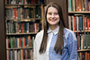 WVU Fulbright Scholar  Savannah Lusk poses for a photo in the WV Collection Downtown library April 25, 2018. Photo Greg Ellis