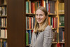 WVU Fulbright Scholar Audrey Geise poses for a photo in the WV Collection Downtown library April 25, 2018. Photo Greg Ellis