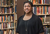 WVU Fulbright Scholar Sascha Daniels poses for a photo in the WV Collection Downtown library April 25, 2018. Photo Greg Ellis