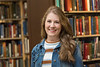 WVU Fulbright Scholar Morgan King poses for a photo in the WV Collection Downtown library April 25, 2018. Photo Greg Ellis