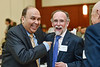 Gib Seese and Radhey Sharma spoke warmly with colleagues and celebrated their own and other's achievements. Students and staff of the Statler College of Engineering gathered at the Erickson Alumni Center to recognize major accomplishments. The event was held on April 26, 2019.