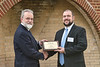 John Baucum, a representative from Pandell, is presented with a plaque of appreciation for their stewardship. Students were recognized for their academic achievements and donors were recognized for their generous assistance at the Erikson Alumni Center on April 11, 2019. The event was followed by a banquet where students could express their thanks to the donors.