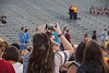Makenna Hefner takes a photo of the freshman class on the field at Milan Puskar Stadium during the Monday Night Lights event August 14, 2017. Monday Night Lights has been a part of the West Virginia University freshan experience for three years now.